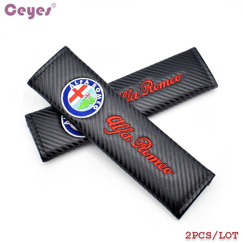 Ceyes Car Styling Carbon Fiber Auto Shoulder Pads Case For Alfa Romeo 156 Mito 147 159 Giulietta Accessories Car-Styling 2PCS