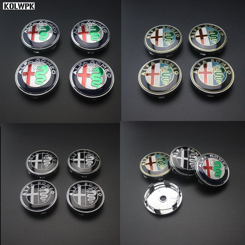 4pcs Free shipping 60mm Alfa Romeo 147 156 166 159 GT  Giulia car Wheel Center Hub Cap Wheel Dust-proof Badge emblem covers