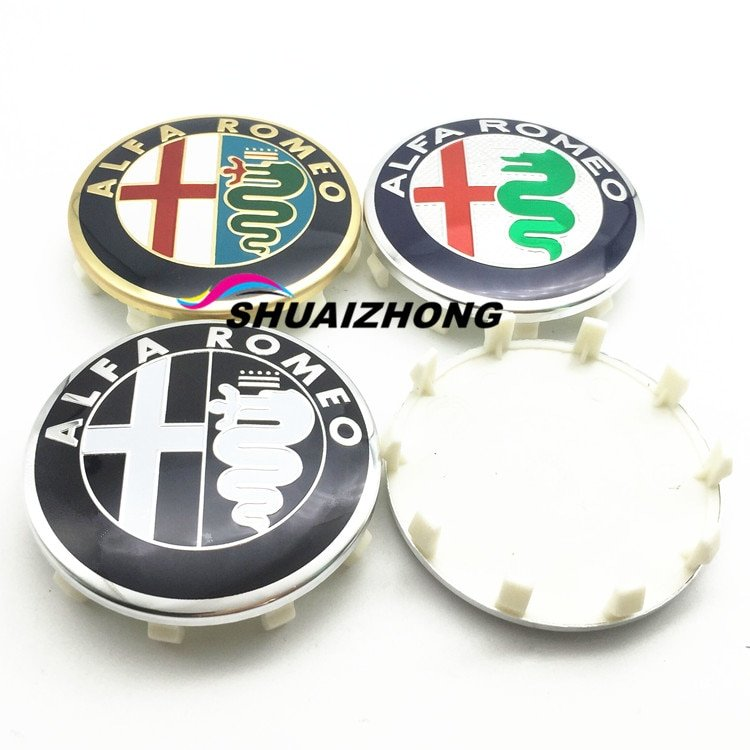 4pcs 15mm 50mm 56mm 60mm Alfa Romeo 147 156 159 166 Car Wheel Center Hub Cap Emblem Wheel Dust-proof covers Badge key 3d Sticker