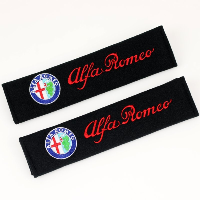 2PCS Car Safety Belt embroidery pattern covers seat belt case for alfa romeo 159 147 156 giulietta 147 159 mito