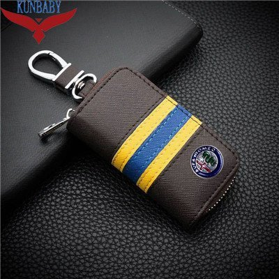 KUNBABY Top Men/Women's New Fashion Car Keys Bag Keys Chains Case Holder Cowhide Leather Key Wallet For Alfa Romeo